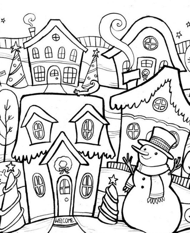 Drawing Winter season #23 (Nature) – Printable coloring pages
