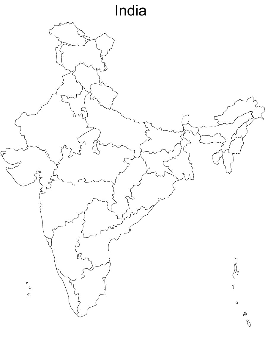 Blank political map of india