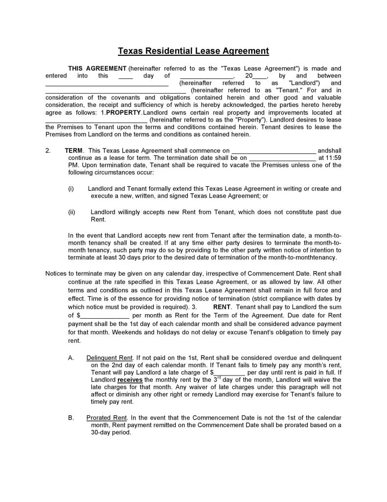 Download Free Texas Residential Lease Agreement Printable Lease Agreement