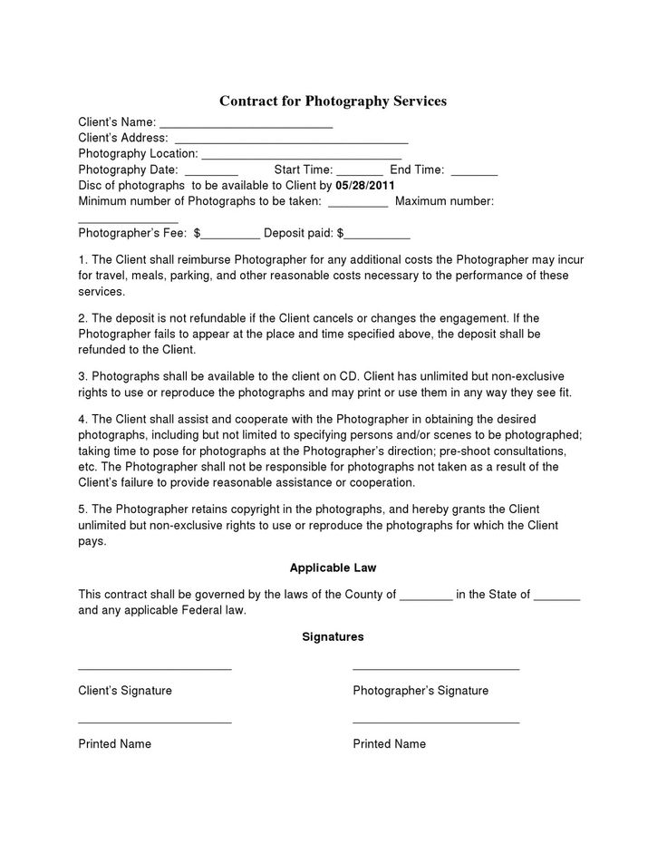 Free Printable Wedding Photography Contract Template Form
