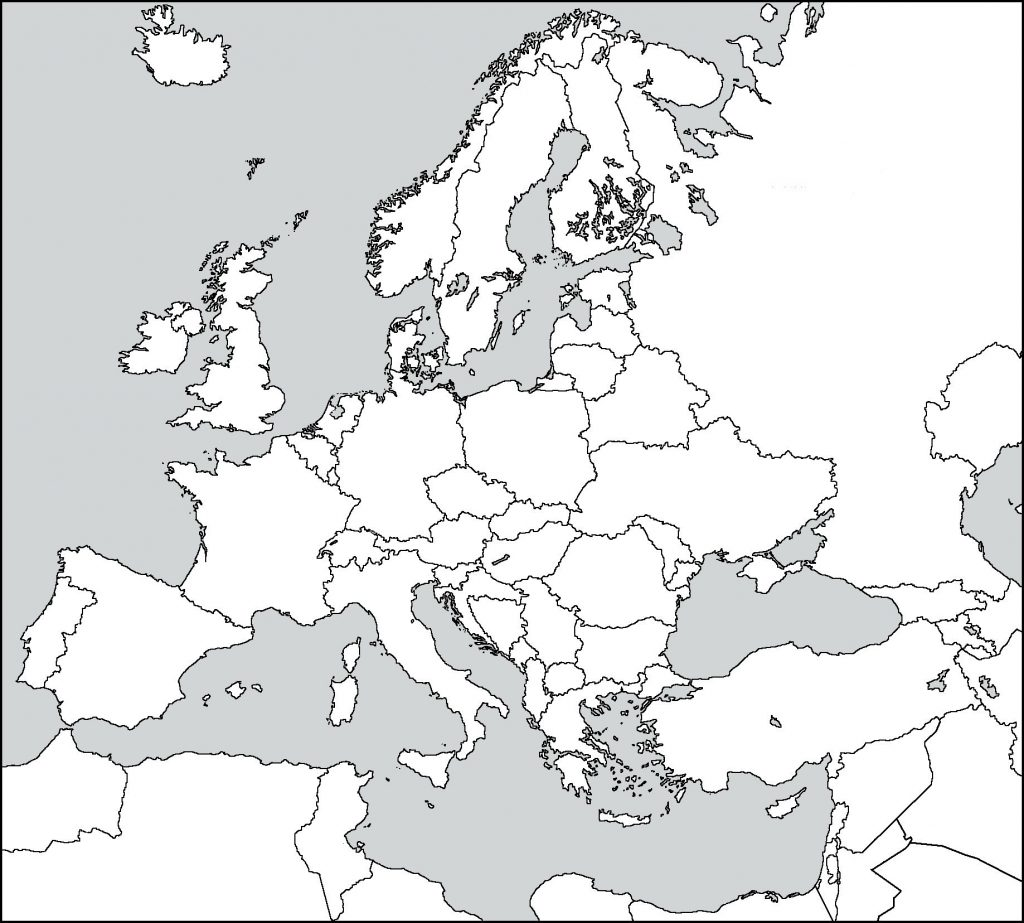 Europe Blank Map Worksheet