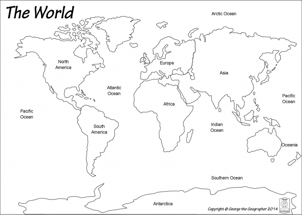Printable World Map With Continents And Oceans Labeled