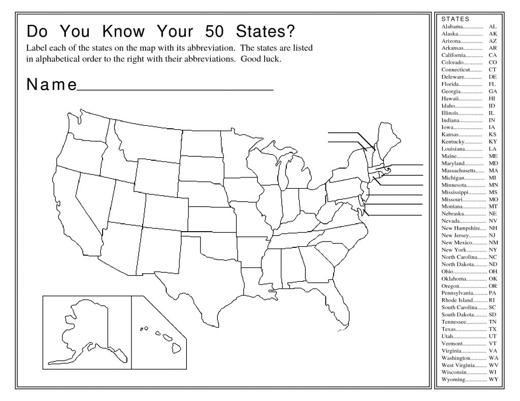 50 States And Capitals Map Quiz Printable