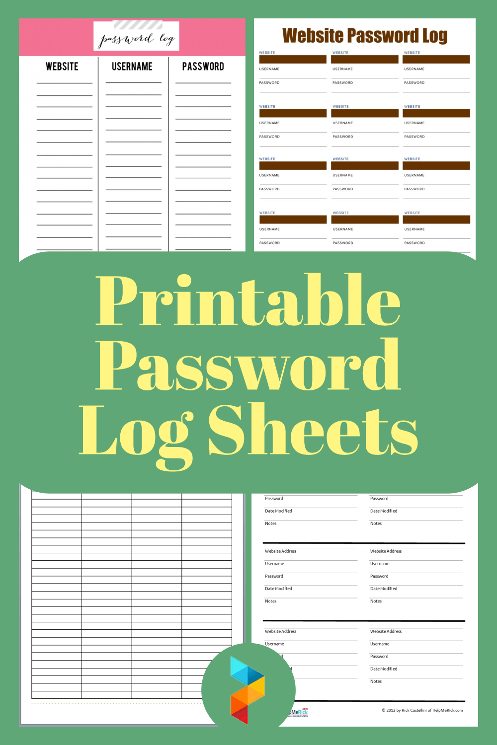 If you prefer not to make the spreadsheet check out the bottom of this post. 10 Best Free Printable Password Log Sheets Printablee Com