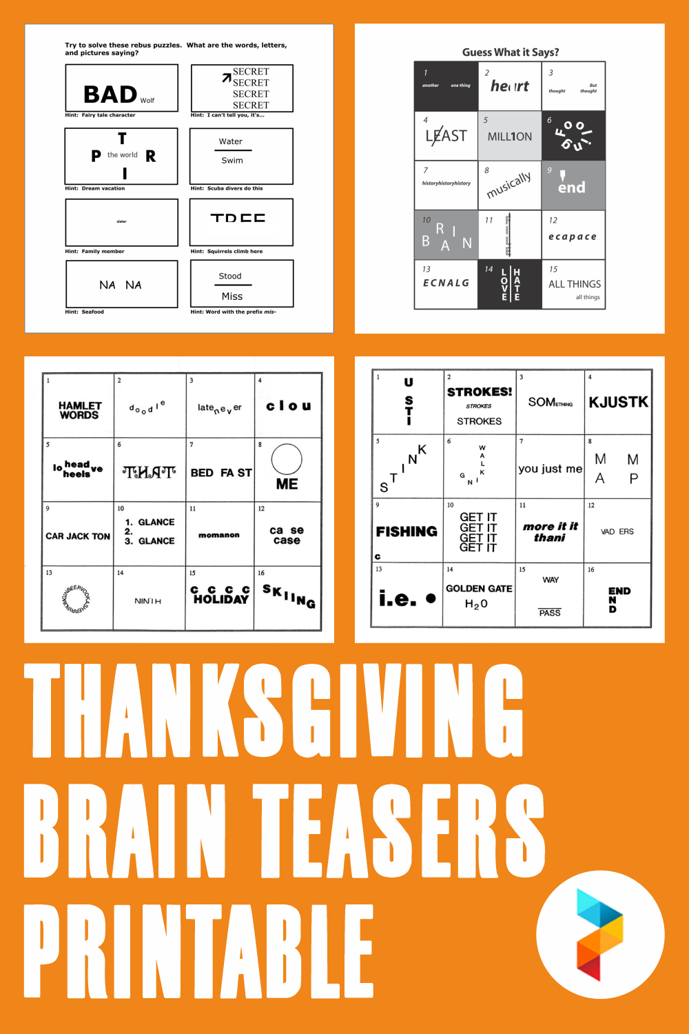 hight resolution of 5 Best Thanksgiving Brain Teasers Printable - printablee.com