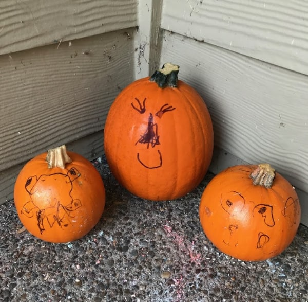 Three small pumpkins decorated with sharpies