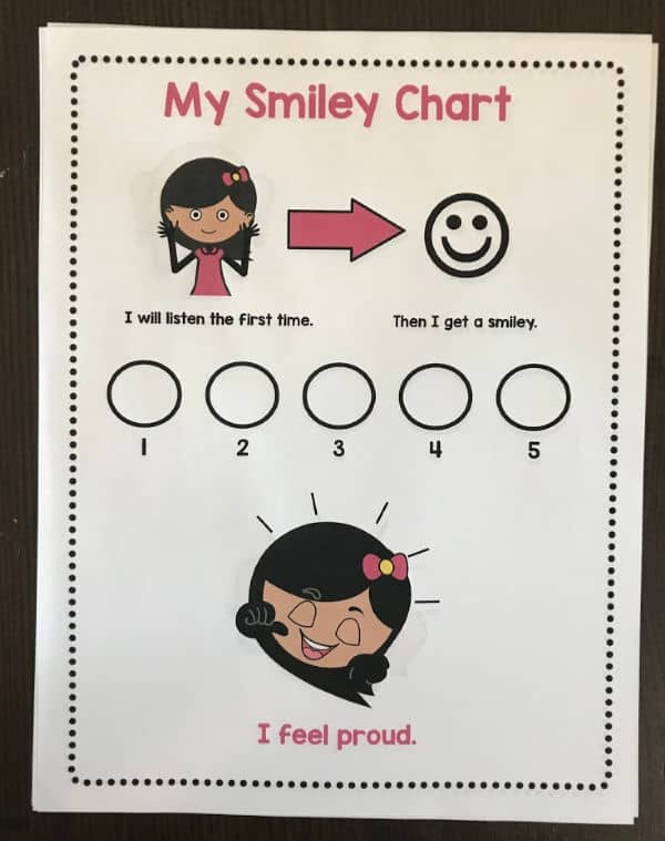 use a positive smiley chart for good behavior