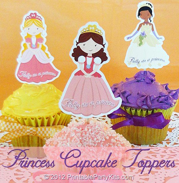 Topper Imprimibles de Princesas para magdalenas y muffins