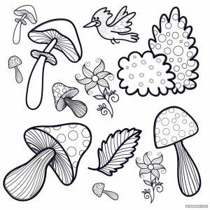 trippy mushroom easy drawings simple drawing coloring printable cartoon approachingtheelephant newest printabler aesthetic