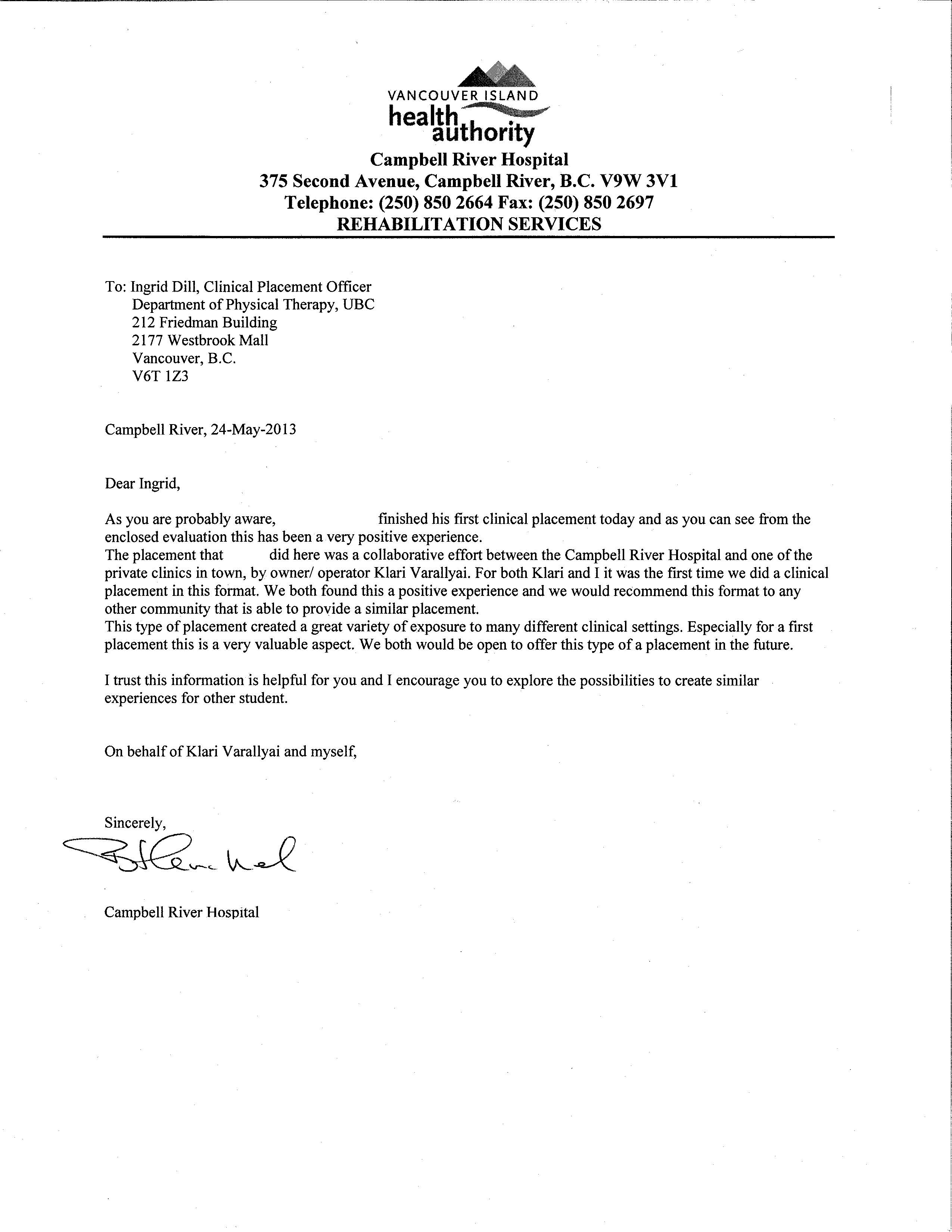 sample of recommendation letter for physical therapy school ...