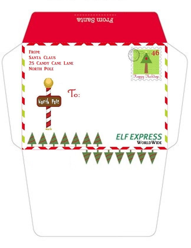 north pole envelopes to print