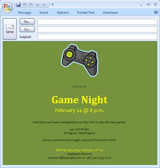 video game night invitation