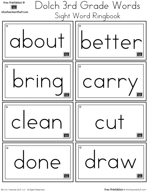 small resolution of Third Grade Dolch Sight Words Ring Book   A to Z Teacher Stuff Printable  Pages and Worksheets