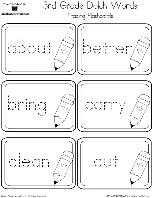 small resolution of Third Grade Dolch Sight Words Tracing Flashcards   A to Z Teacher Stuff  Printable Pages and Worksheets