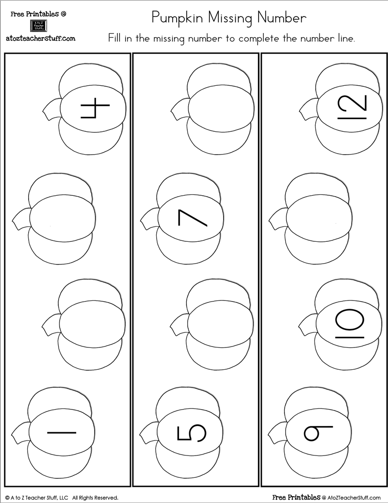 medium resolution of Fill in the Missing Number Pumpkin Number Line   A to Z Teacher Stuff  Printable Pages and Worksheets