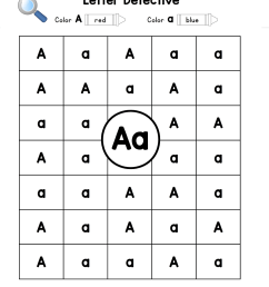 Letter A: Letter Detective Uppercase \u0026 Lowercase Visual Discrimination   A  to Z Teacher Stuff Printable Pages and Worksheets [ 1461 x 1139 Pixel ]