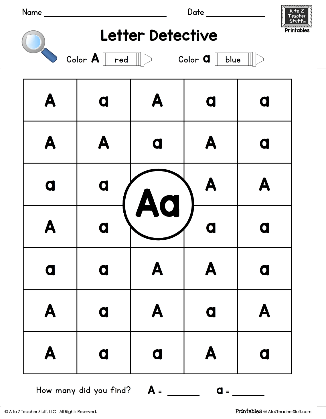 hight resolution of Letter A: Letter Detective Uppercase \u0026 Lowercase Visual Discrimination   A  to Z Teacher Stuff Printable Pages and Worksheets