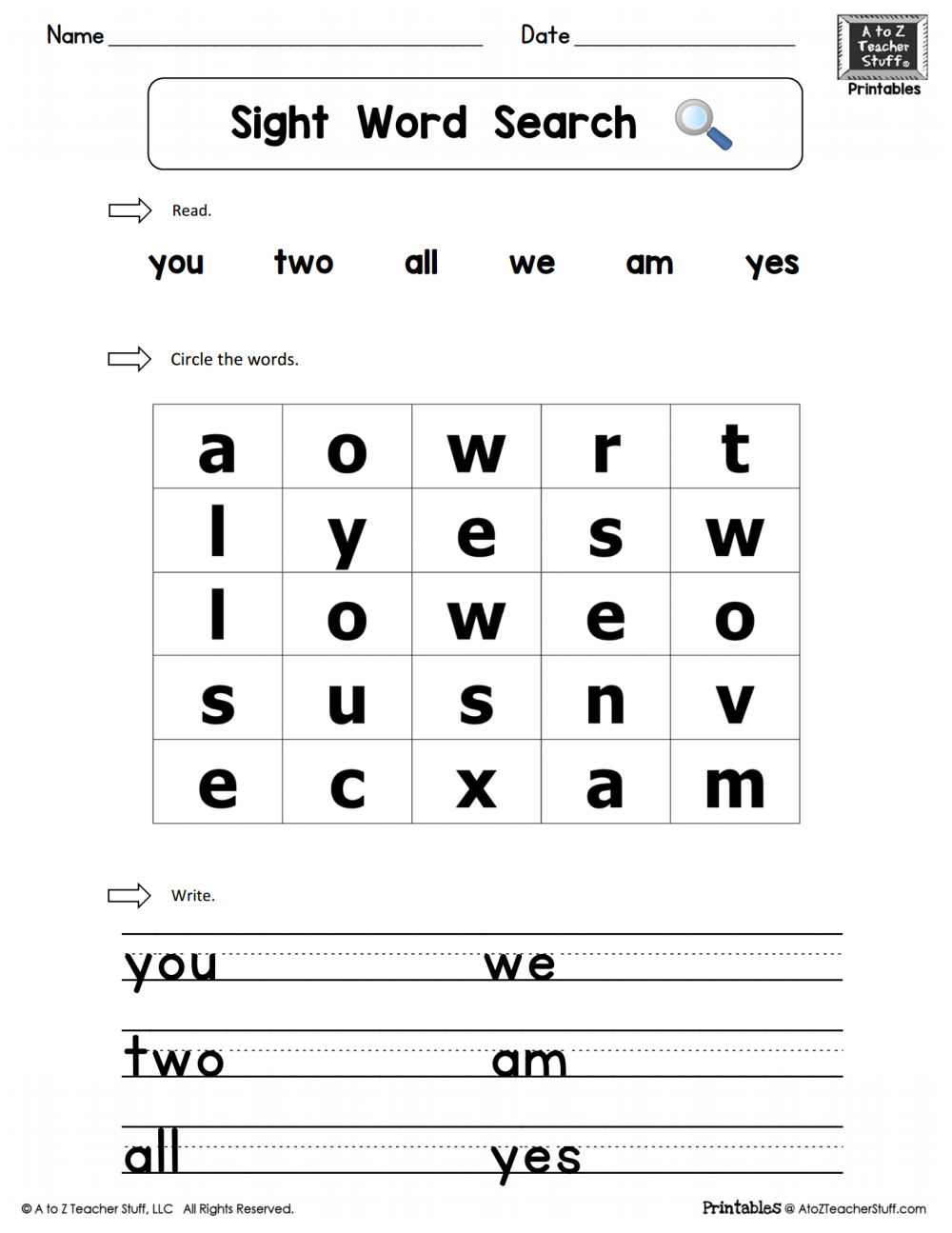 medium resolution of Sight Words Practice Word Search: you