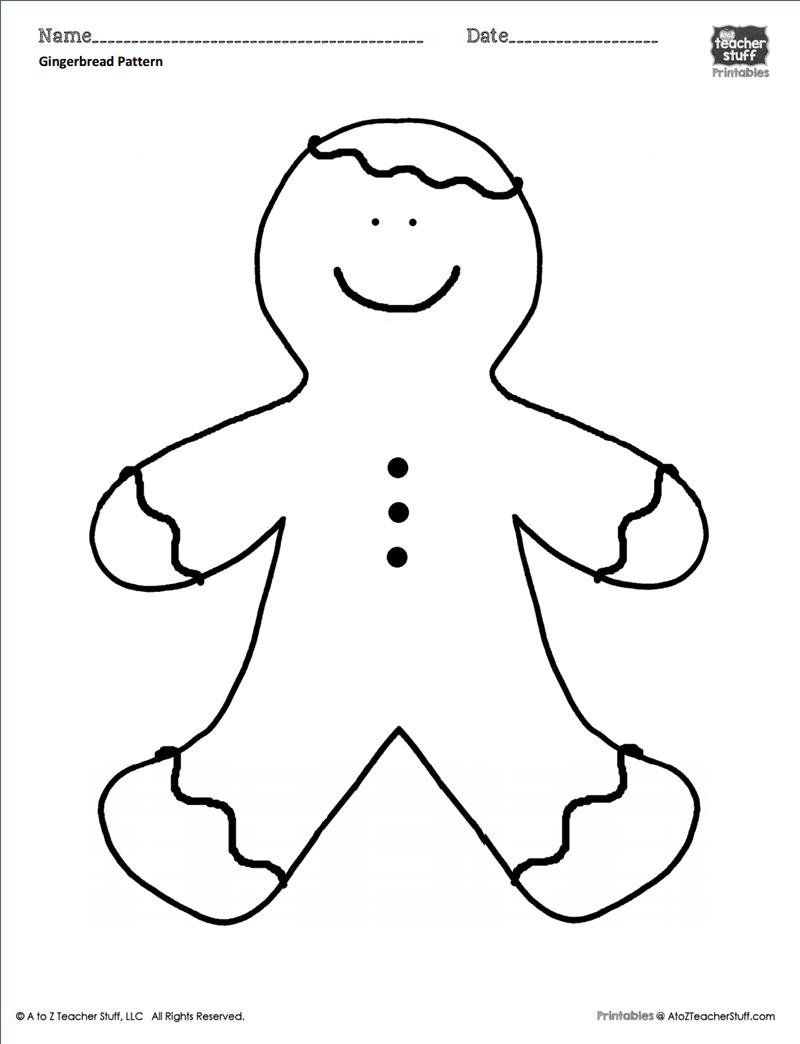Gingerbread Man Coloring Sheet Or Pattern A To Z Teacher Stuff