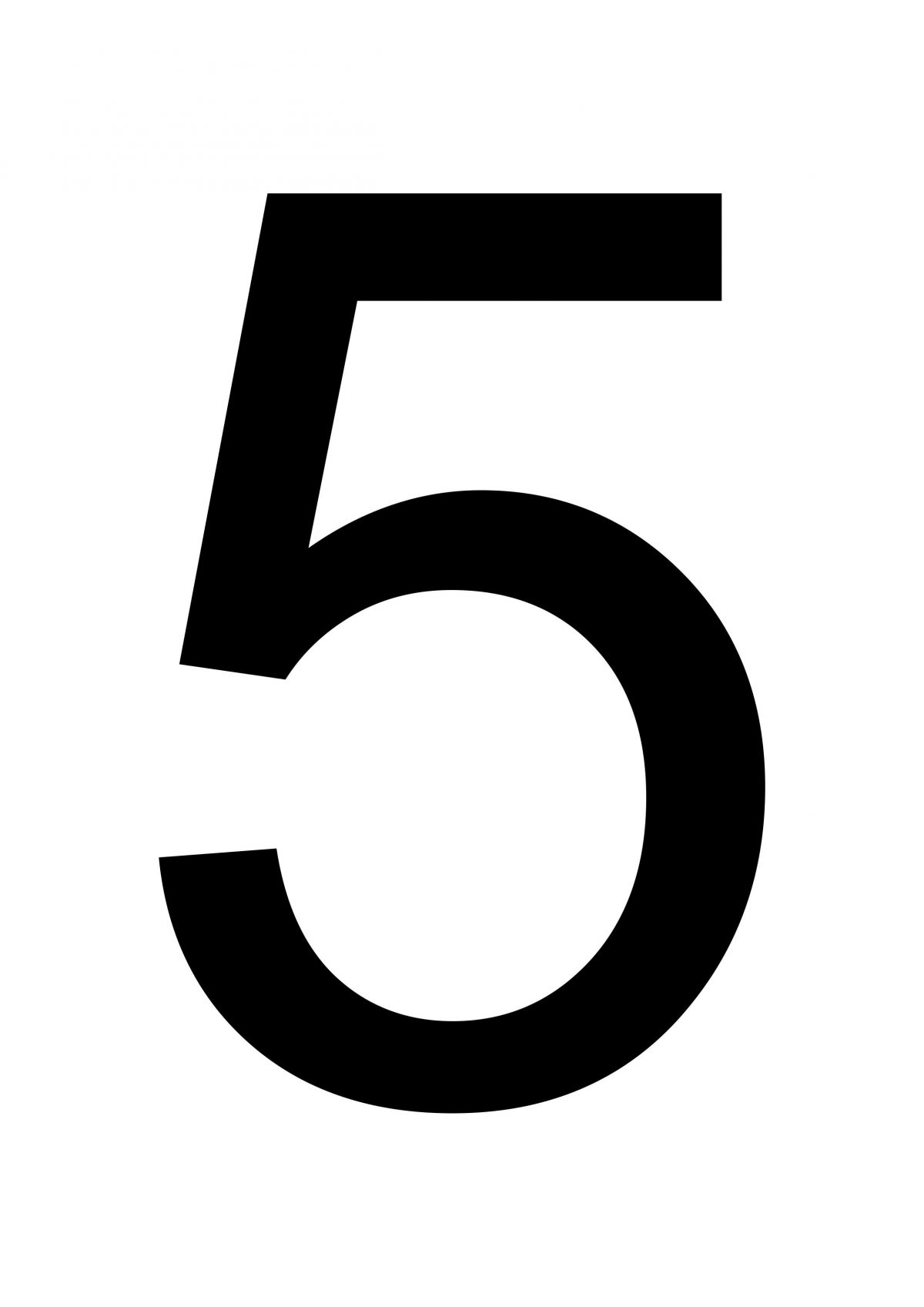 Large Printable Number 5