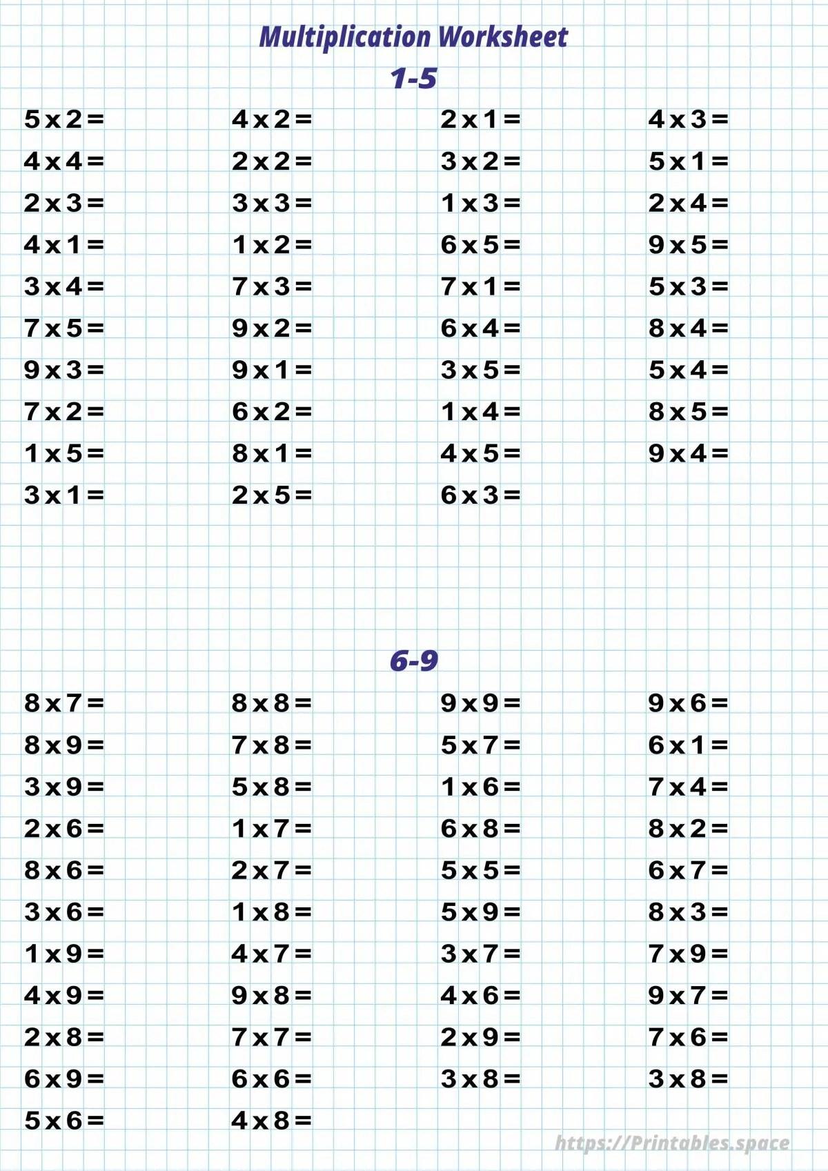 Printable Multiplication Worksheet Free Printables