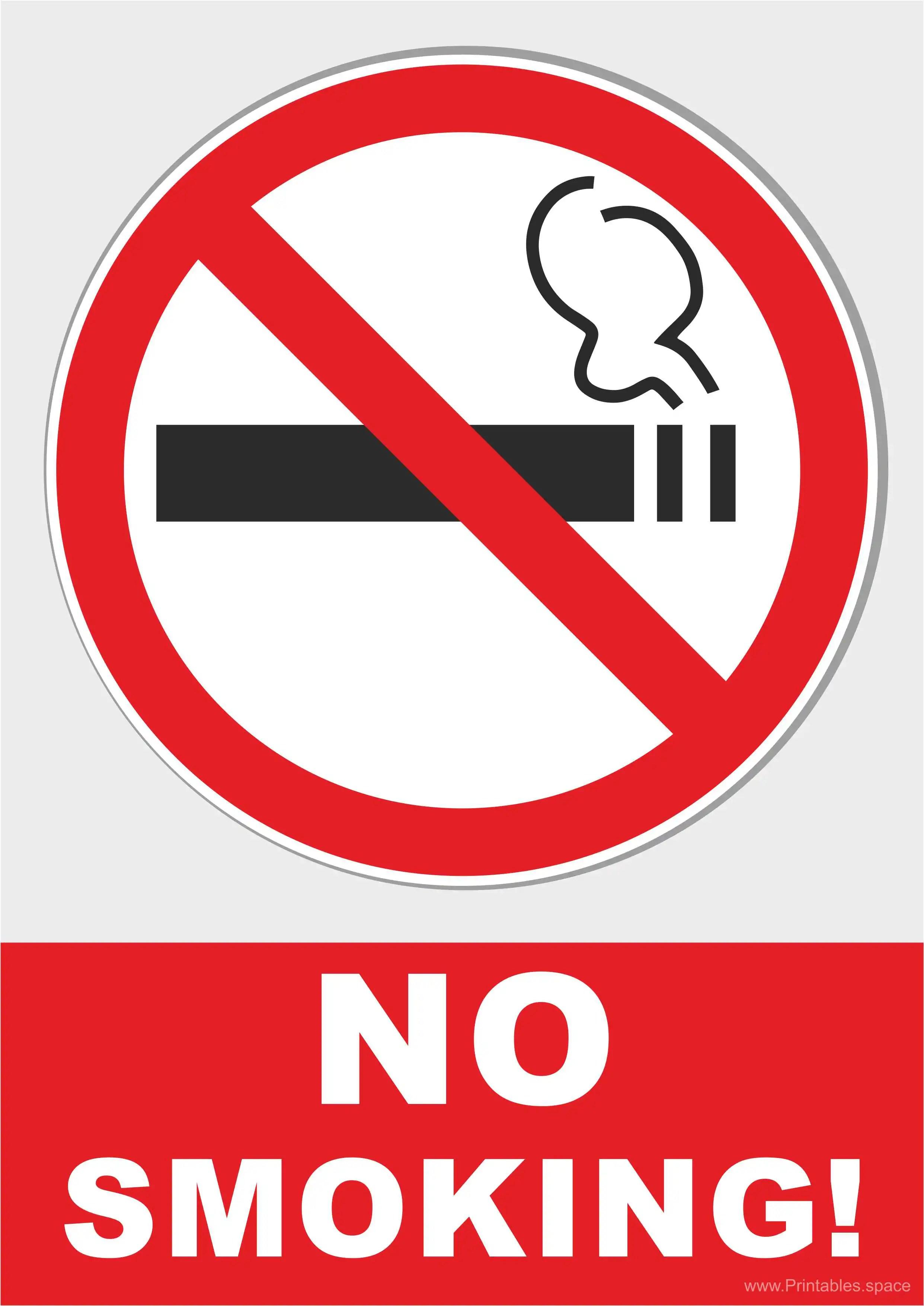 Printable No Smoking Sign