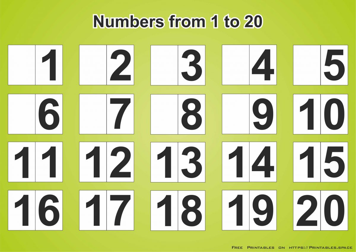 Free Download Printable Page With Numbers 1 20 Free