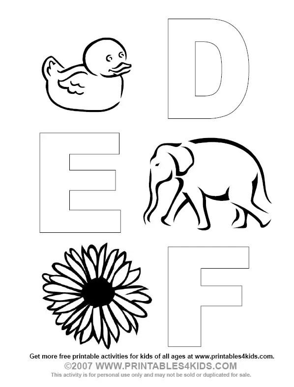 Alphabet Coloring Letters D, E, F : Printables for Kids