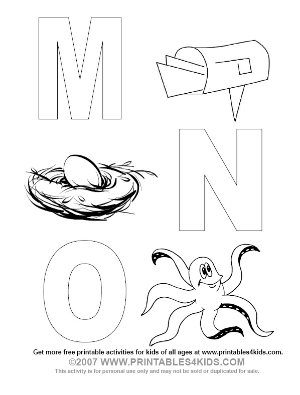 Alphabet Coloring Letters M, N, O : Printables for Kids
