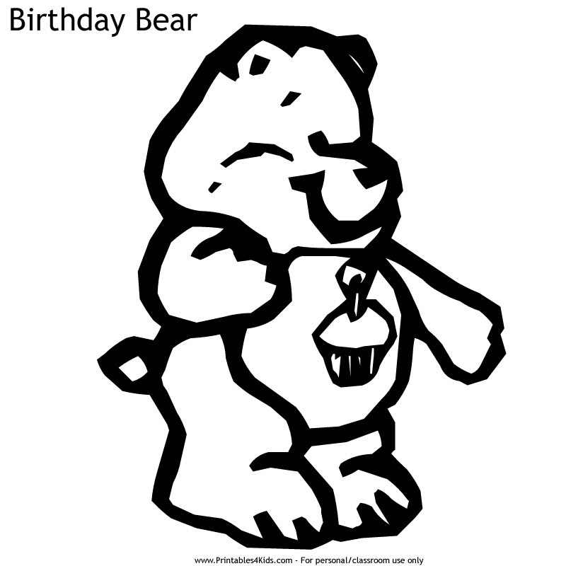 Care Bears Birthday Bear Coloring Page : Printables for