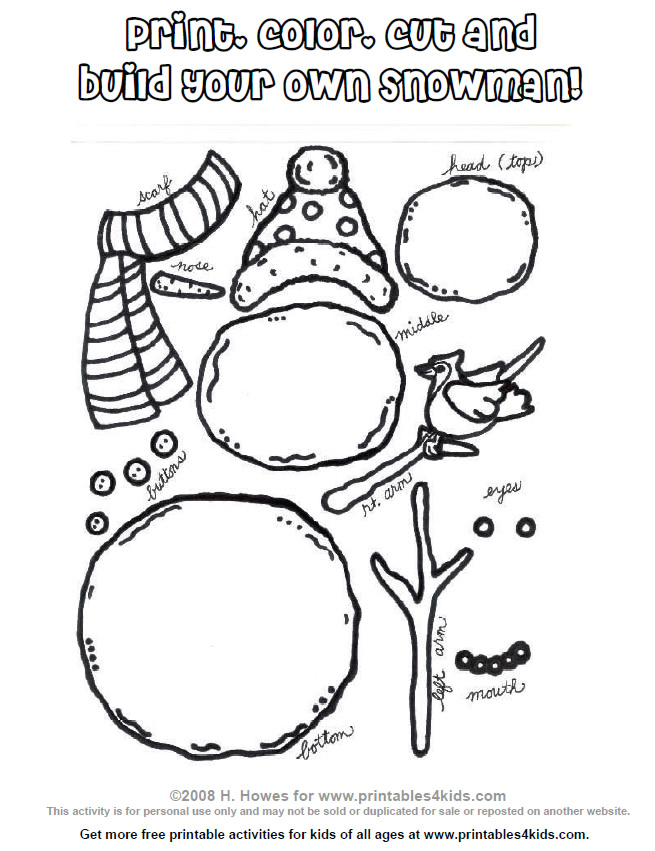 Printable Build a Snowman Activity : Printables for Kids