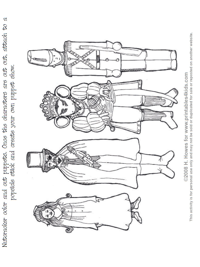 Nutcracker Print And Color Puppets Printables For Kids Free
