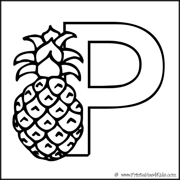 The letter P coloring page