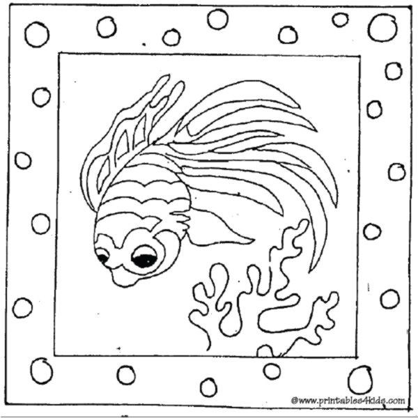 Printable cartoon fish coloring page : Printables for Kids