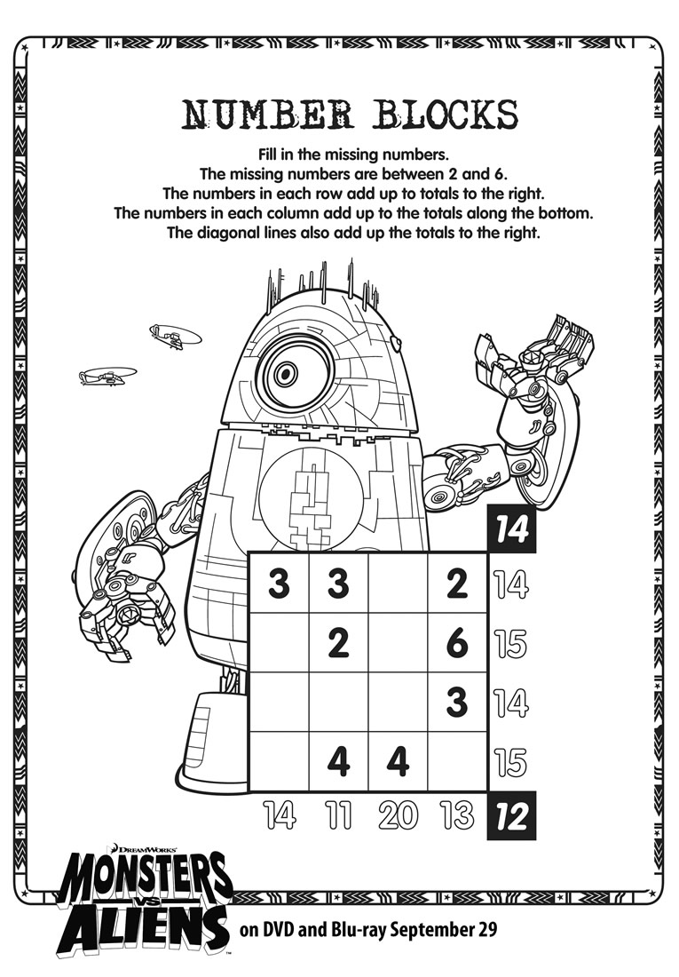 Monsters vs Aliens Number Blocks Soduko printable