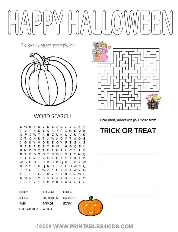 Halloween 4-in1 Activity Sheet
