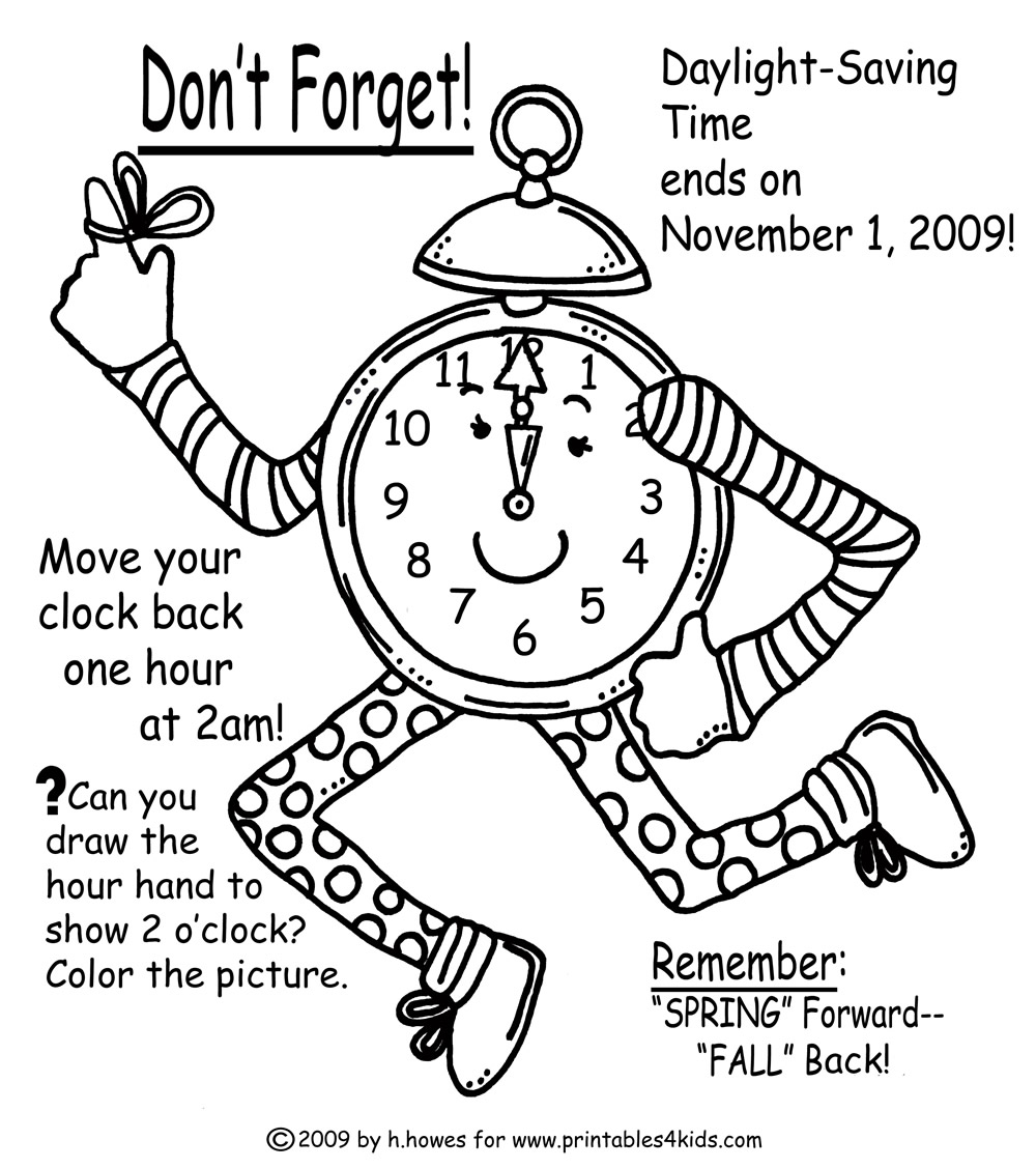 Time Change Coloring Page for Fall : Printables for Kids