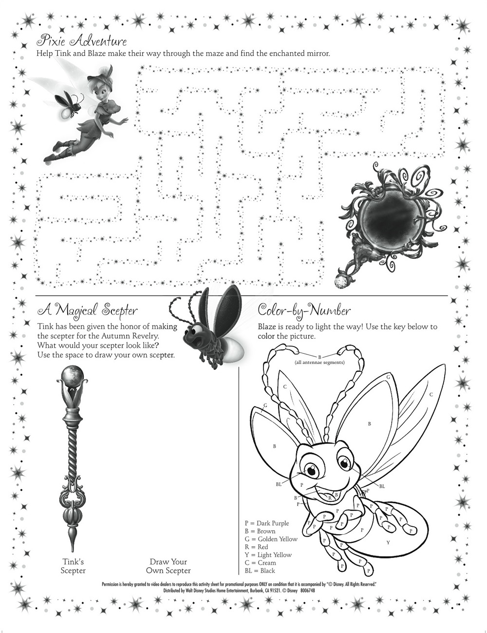 Tinkerbell Printable Activity Sheet : Printables for Kids