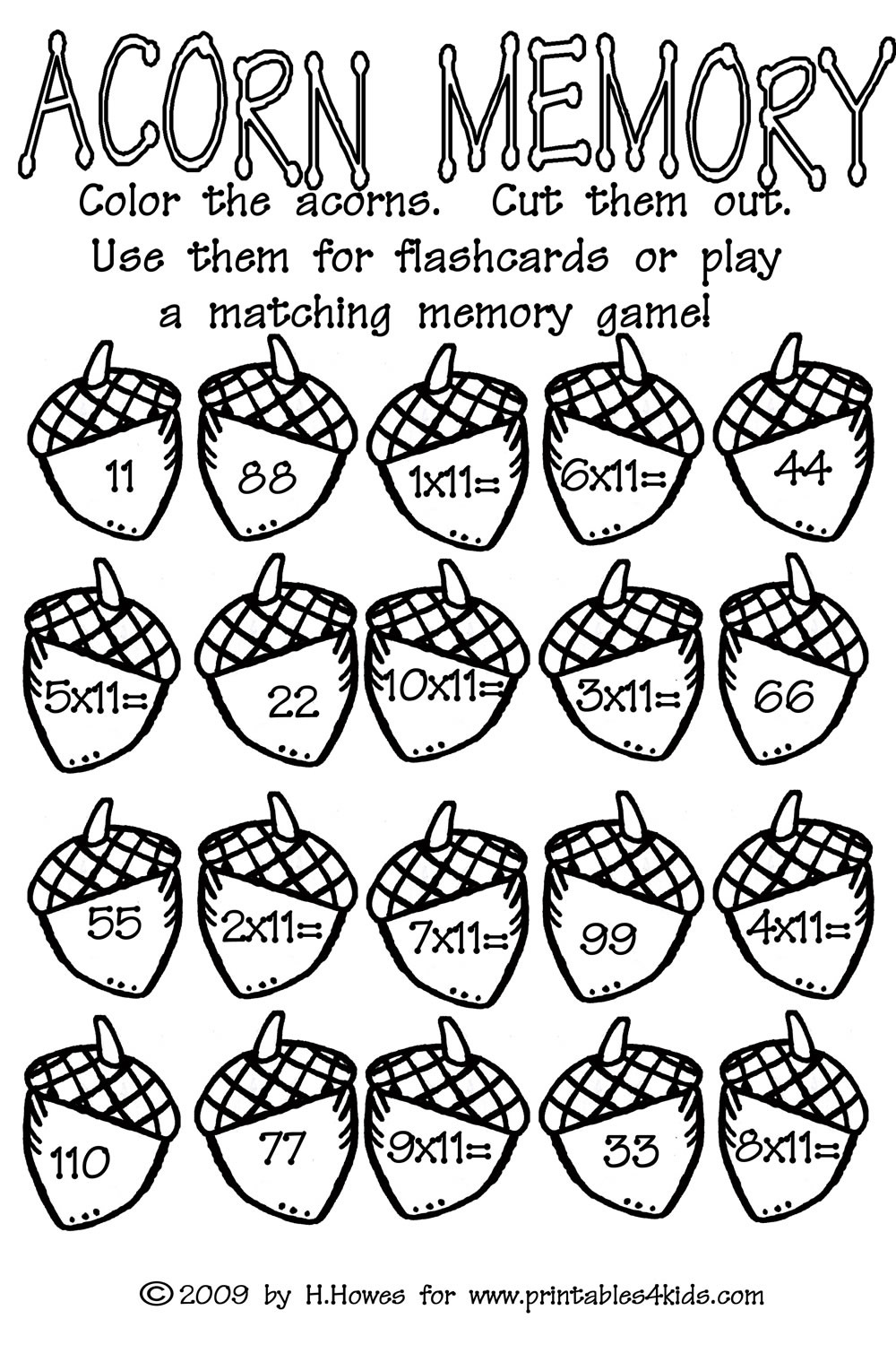 Acorn Multiplication Math Worksheet : Printables for Kids