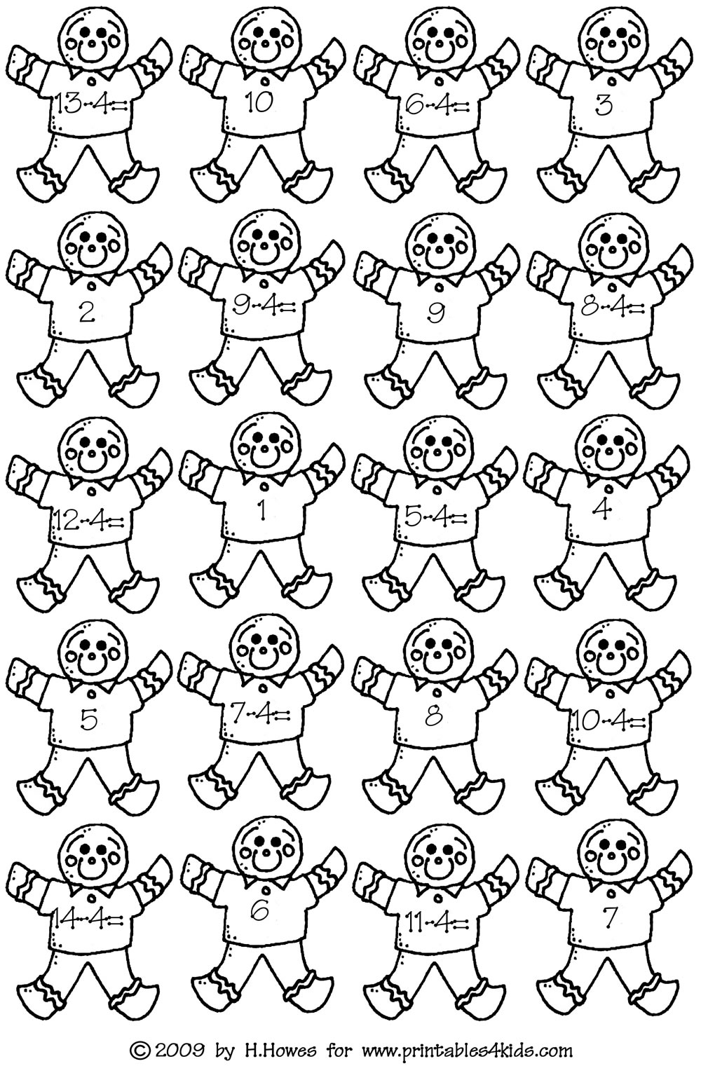 Gingerbread Math Subtraction 4s : Printables for Kids
