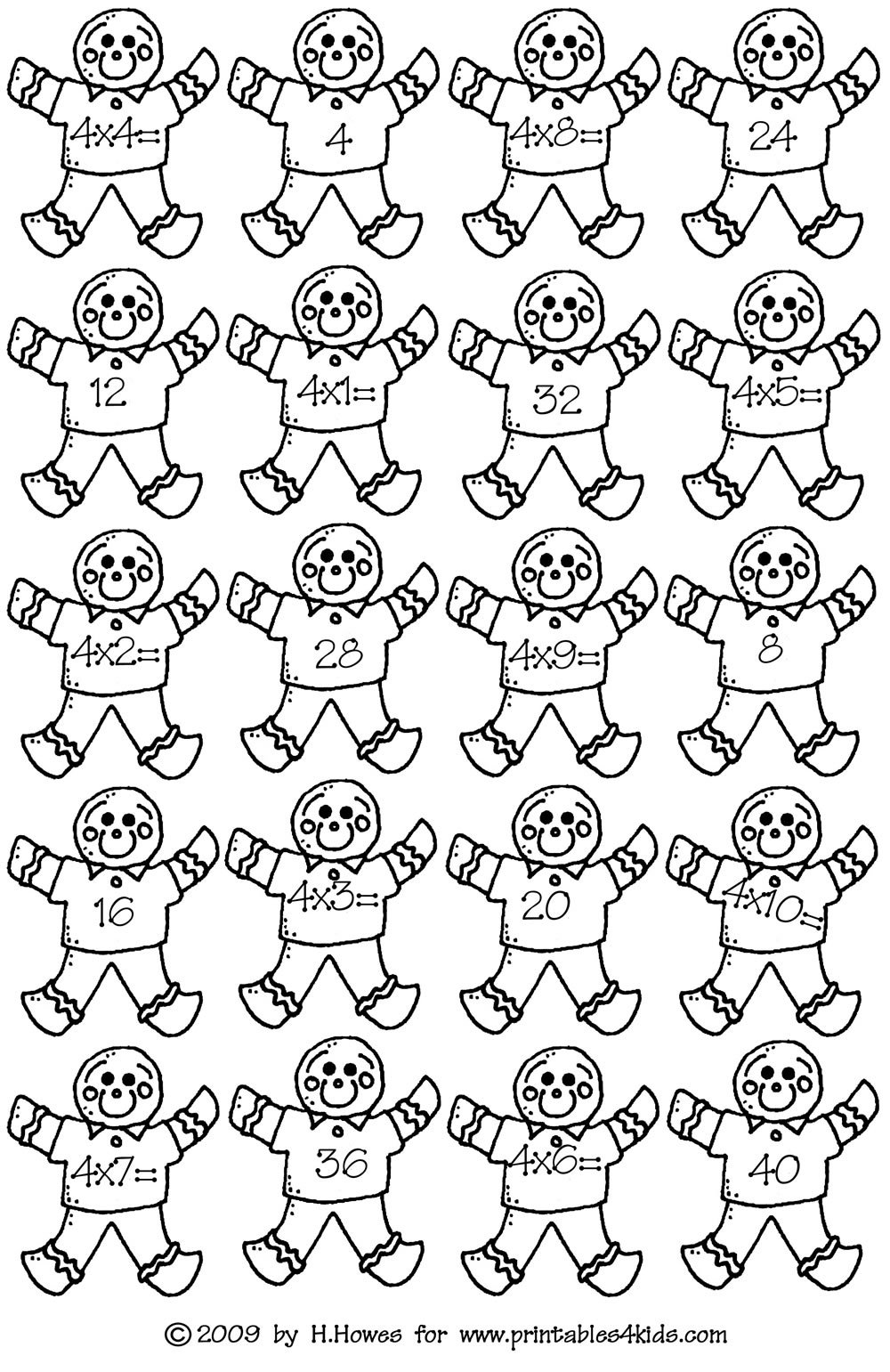 Gingerbread Math Facts Fours Multiplication : Printables