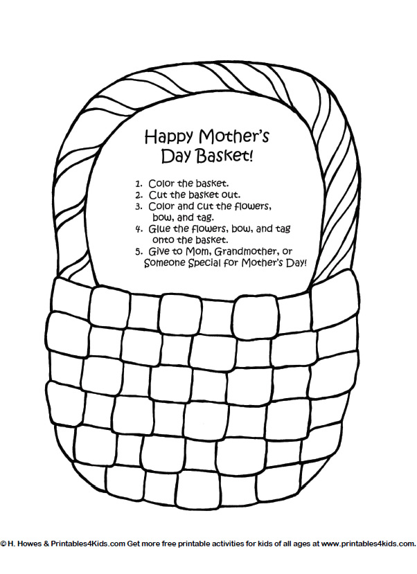 Mothers Day Basket of Flowers Craft : Printables for Kids