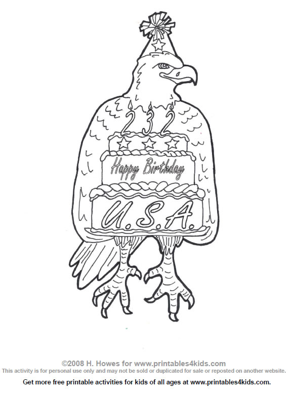 Happy Birthday America Coloring Page : Printables for Kids