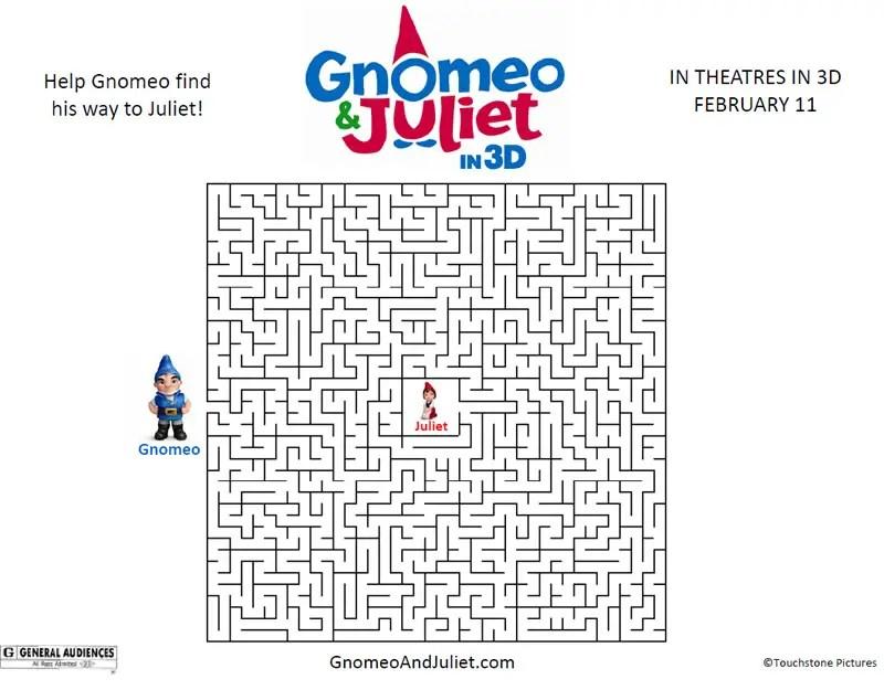 Free Gnomeo Juliet Movie Maze : Printables for Kids