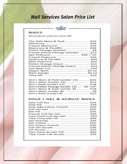Nail Salon Price List Template : salon, price, template, Sample, Services, Salon, Price, Templates, Printable, Samples