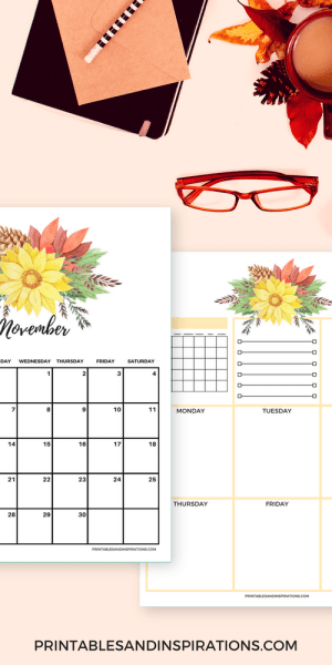 Free printable autumn calendar, weekly planner, monthly planner, blank calendar, watercolor