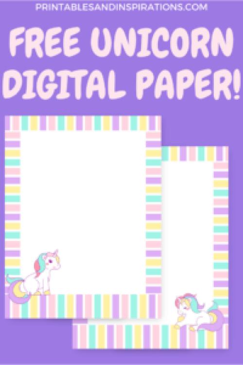 free unicorn graphics, free digital paper, scrapbook paper