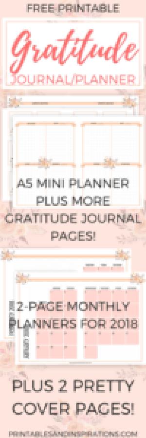 free printables, free gratitude journal, 2018 calendar, planner printables, 2018 monthly planner, weekly planner, monthly spread and weekly spread bullet journal layout, dot paper