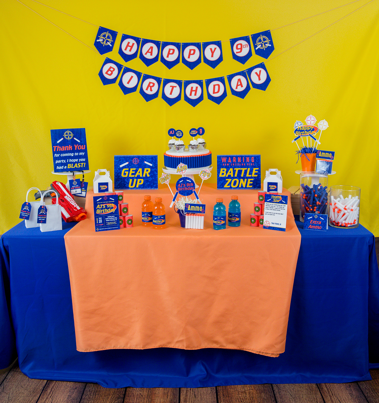 foam dart party decorations and invitation