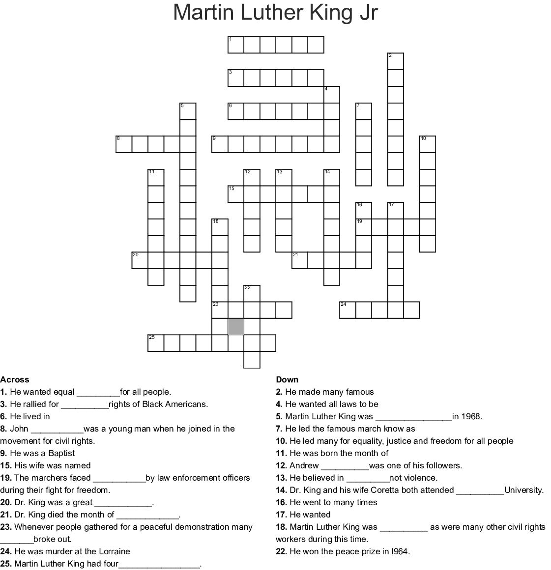 Martin Luther King Crossword Puzzle Printable